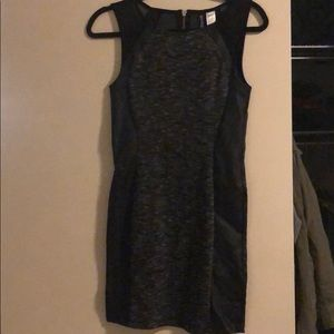 Black leather and gray fitted mini dress